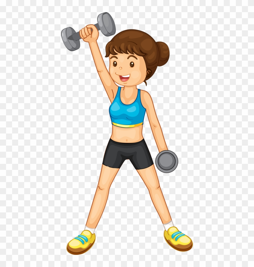 Kids Fitness Ideas - Weight Lifting Cartoon Girl #143111