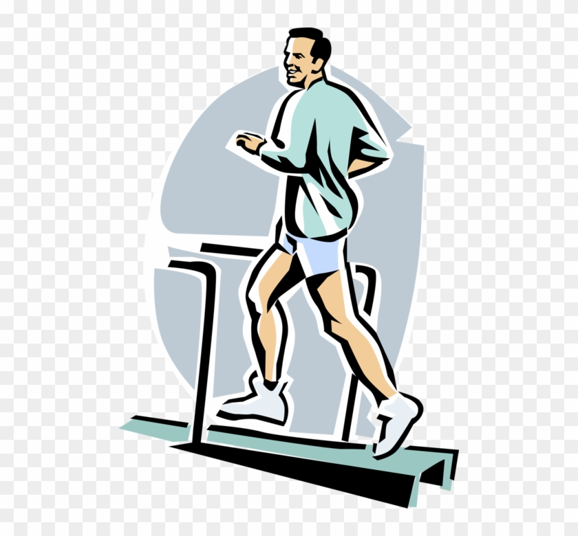 Vector Illustration Of Fitness And Exercise Workout - Cartoon Man Running Treadmill #144171