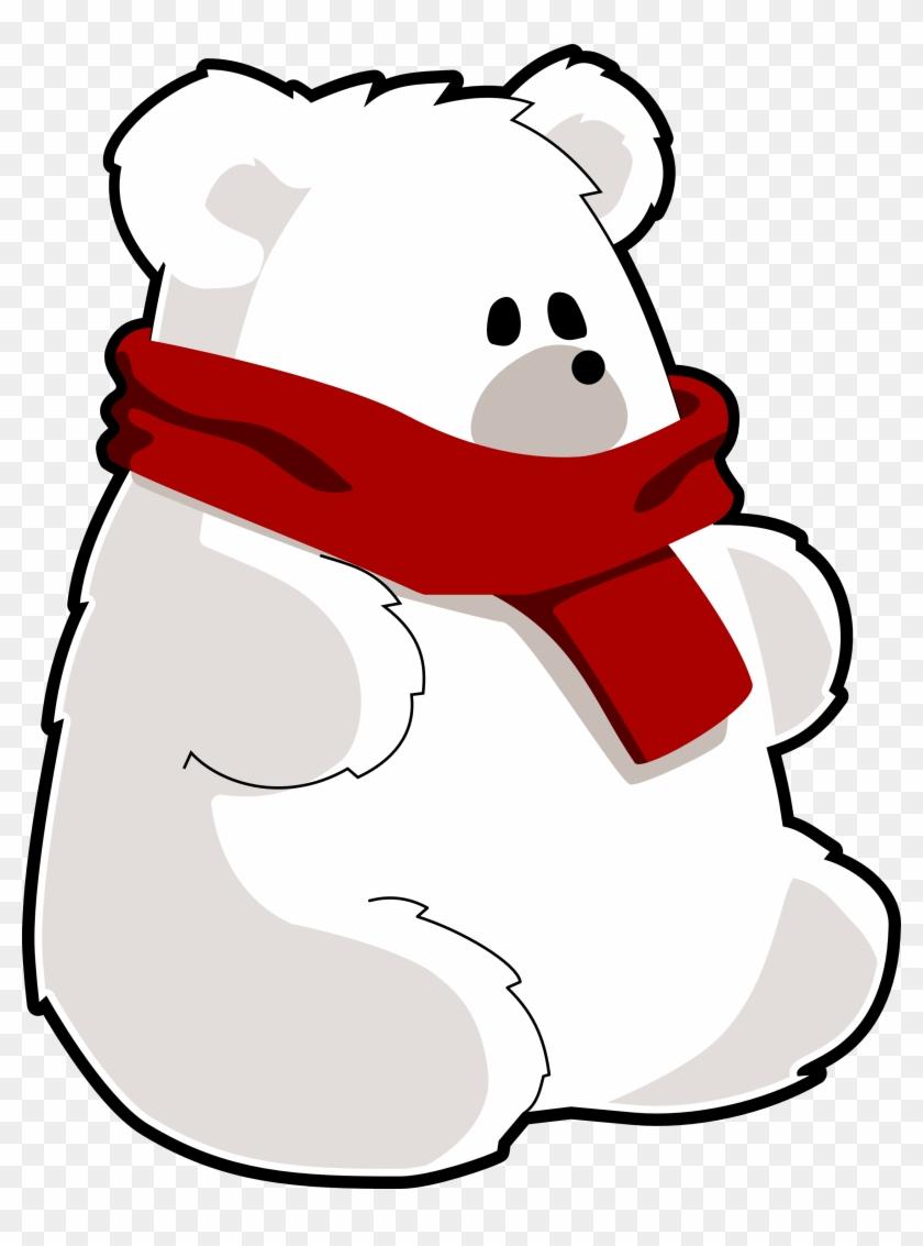 Bear Red Scarf Art 1979px 278 - White Teddy Bear Clipart #144763