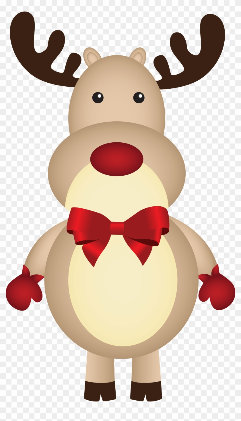 Christmas Rudolph With Bow Png Clipart Image - Rudolph Clipart Png #145243