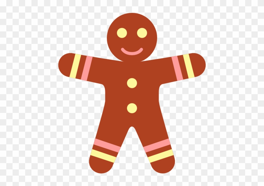 Simple Christmas Gingerbread Man Icon Clipart Image - Simple Christmas Clipart #145602