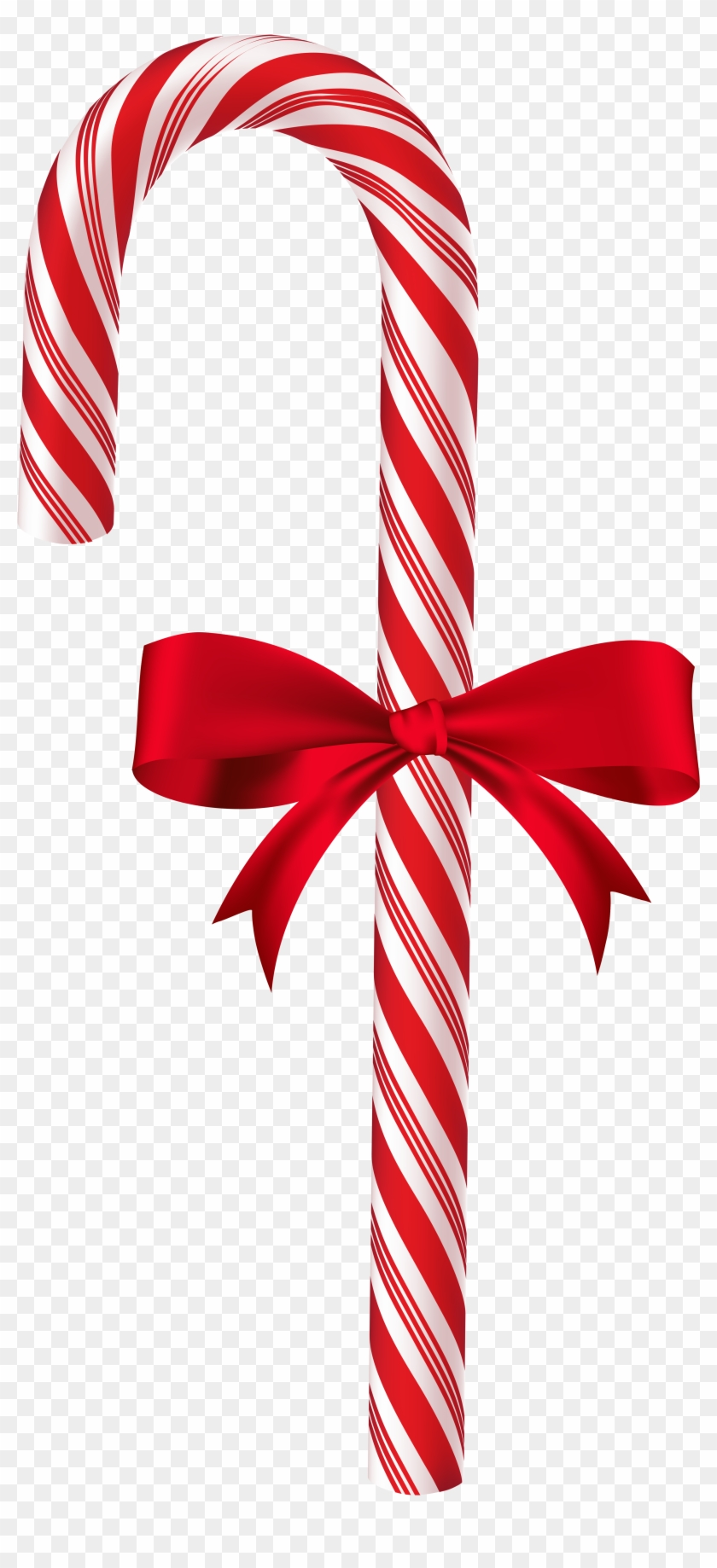 Candy Cane With Red Bow Png Clip Art Image - Doce Cabo De Guarda Chuva #145676