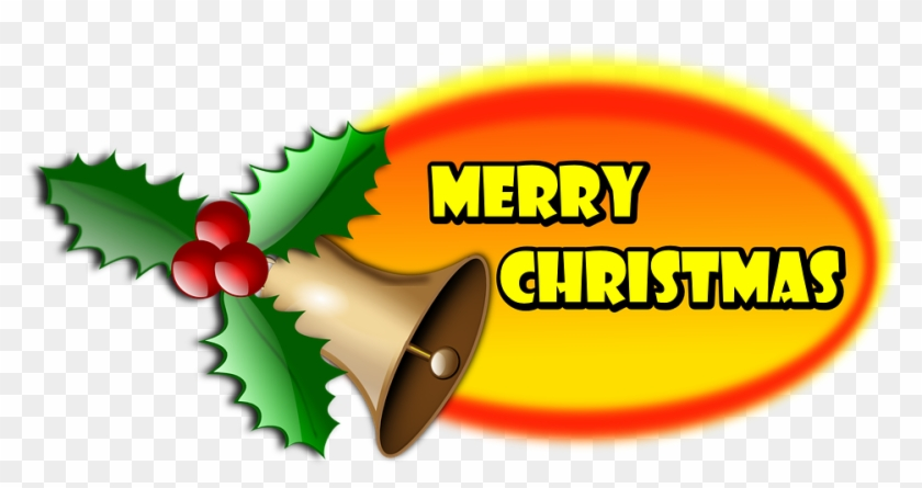 Merry Christmas Christmas Holly Badge Oval Text - Merry Christmas Clip Arts #145752