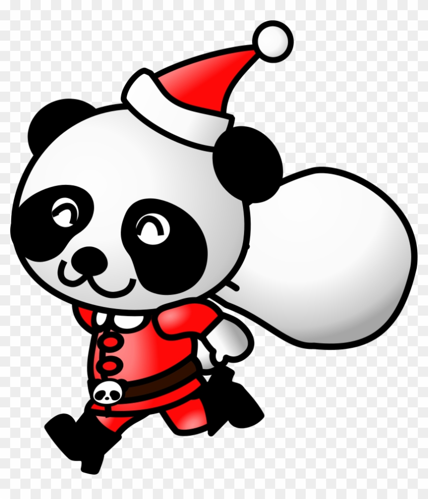 Santa In His Sleigh Clipart, Vector Clip Art Online, - Panda Santa #145795
