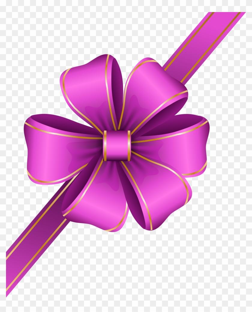 Decorative Pink Bow Corner Transparent Png Clip Art - Corner Ribbon Banner Png #146102
