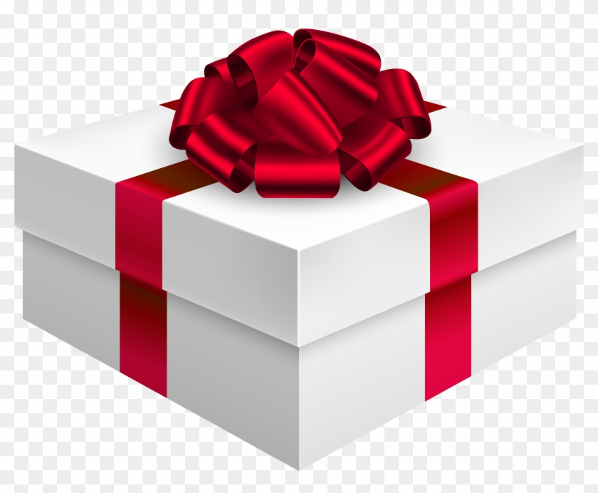 Gift Box With Bow In Red Png Clipart - Box Gift Png #146238