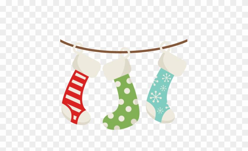 Christmas Stockings Svg Scrapbook Cut File Cute Clipart - Hanging Christmas Stockings Clipart #146259