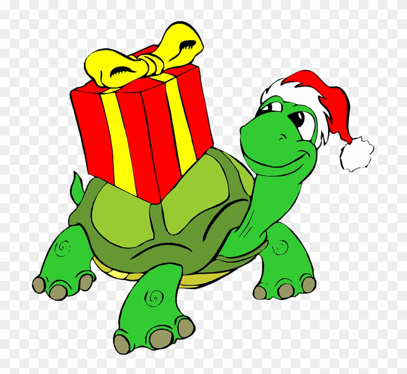 Christmas Holiday Clip Art Tortoise Present Gift - Christmas Clip Art Turtle #146309