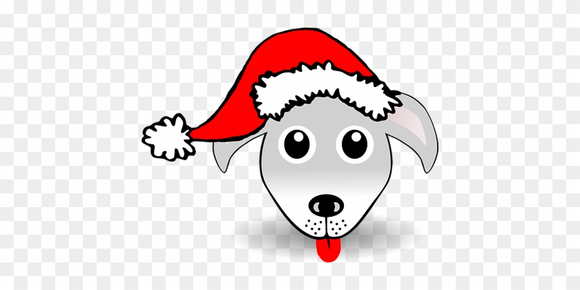Dog Hound Happy Animal Christmas Santa Cla - Dog In Santa Hat Clip Art #146507