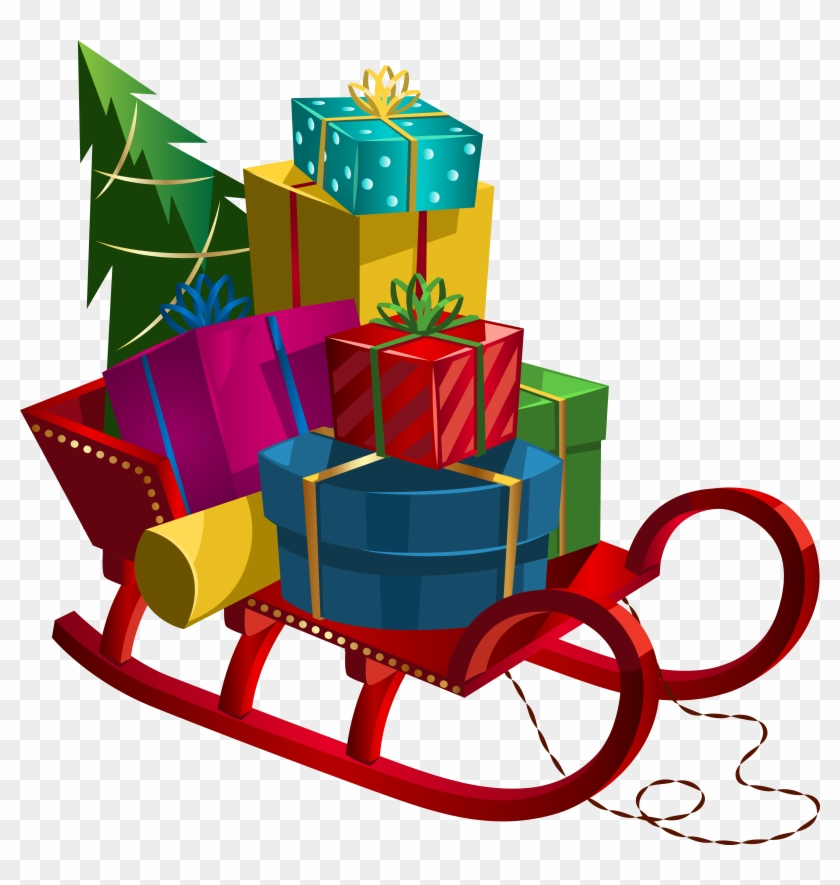 Christmas Sleigh With Gifts Png Clip - Christmas Coloring Book For Children #146701
