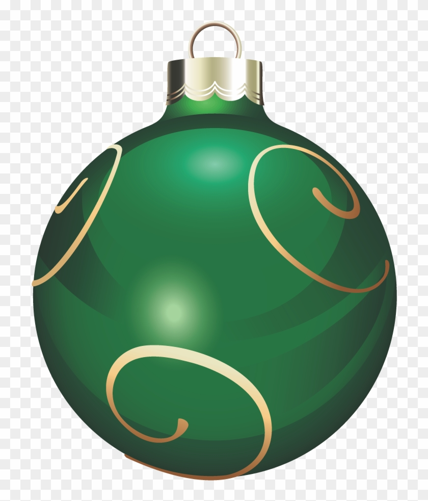 Transparent Green And Gold Christmas Ball Png Clipart - Green Christmas Ornaments Png #146801