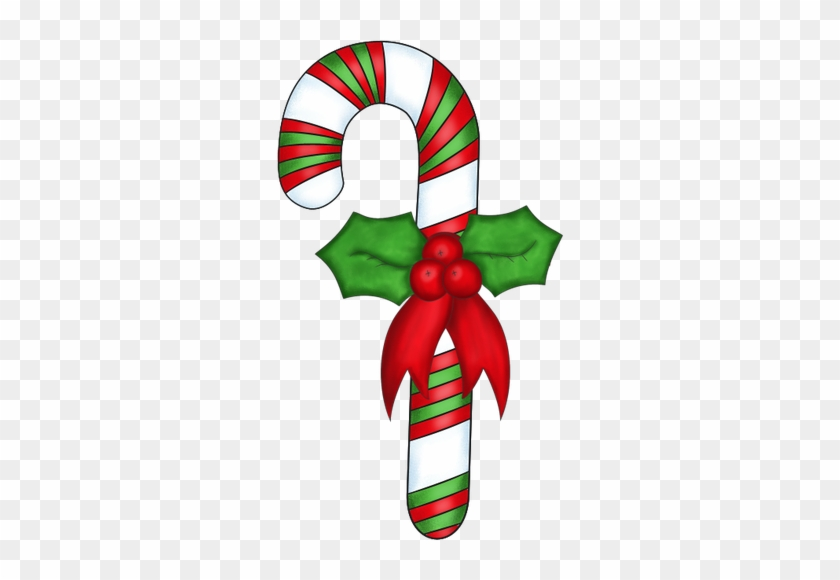 Inspiration For Paper Christmas Candy Cane With Holly - Candy Canes Clipart #146873