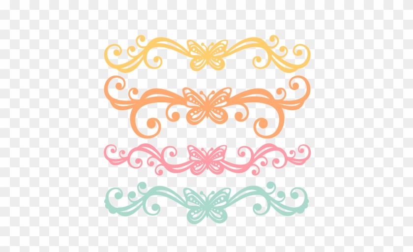 Butterfly Flourishes Svg Scrapbook Cut File Cute Clipart - Free Butterfly Svg Cuts #771087