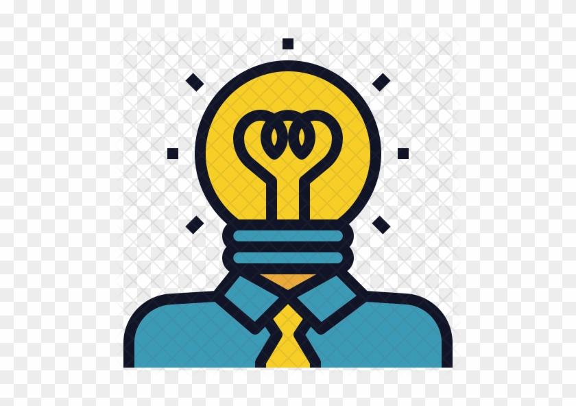 Creative Head Icon - Pencil Light Bulb Icon #779907