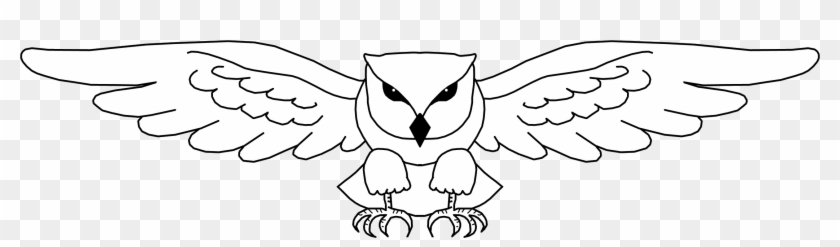 Simple Owl Line Drawing - Owl Wings Out Drawing #781215