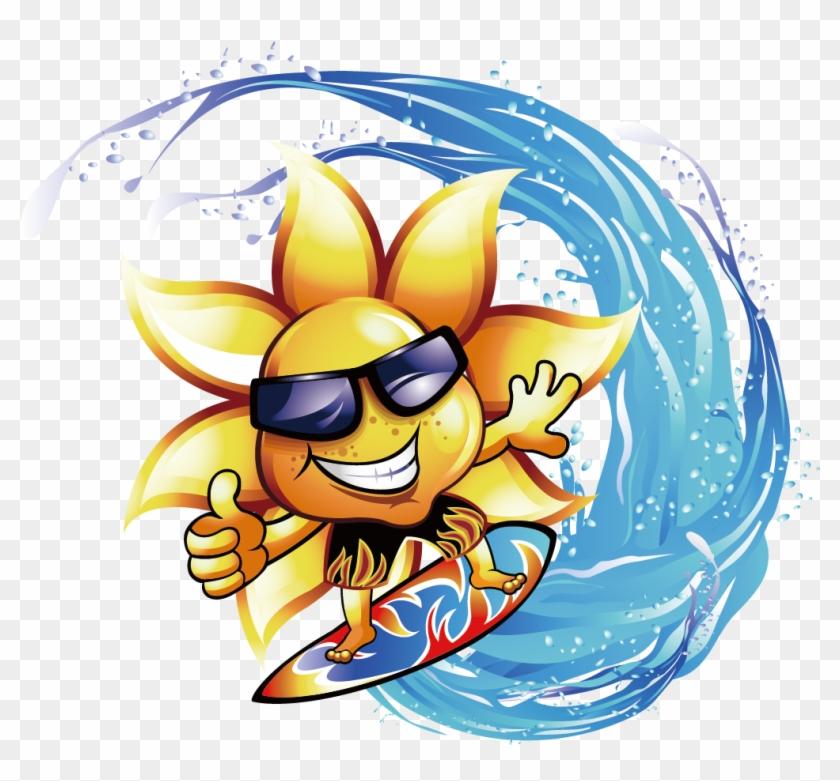 Surfing Common Sunflower Clip Art Beach Groom Honeymoon Towel