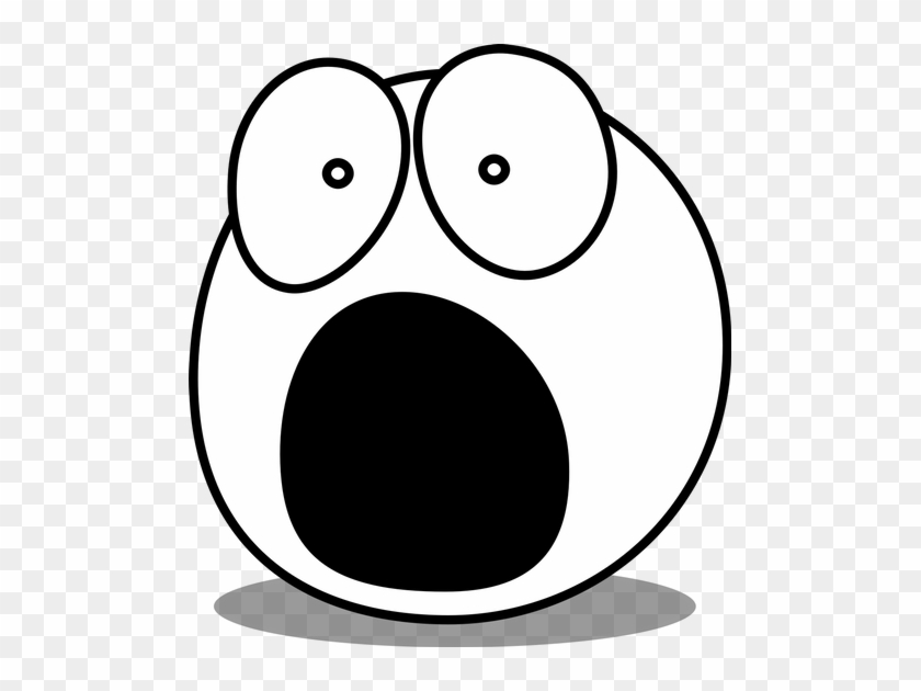 Face, Eyes, Caricature, Comic, Fear, Amazed, Surprised - Scared Face Clip Art Black And White #782950