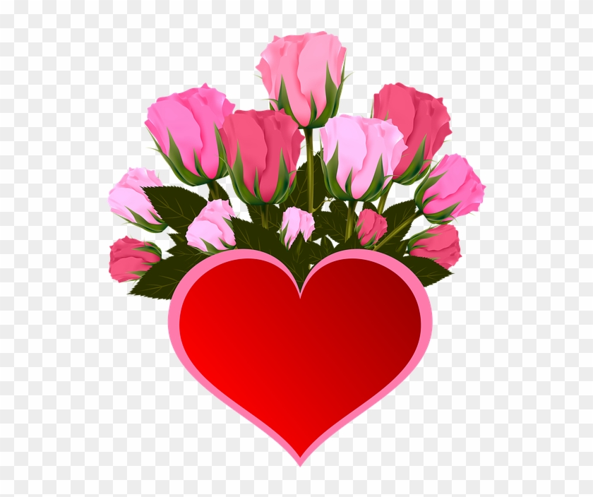 Flowers Roses Pink Bouquet Heart Icon Fleur Rose Coeur Free