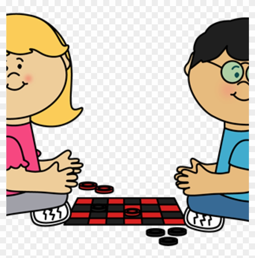 Kids Playing Clipart Kids Playing Checkers Clip Art - Board Game Clipart #784209