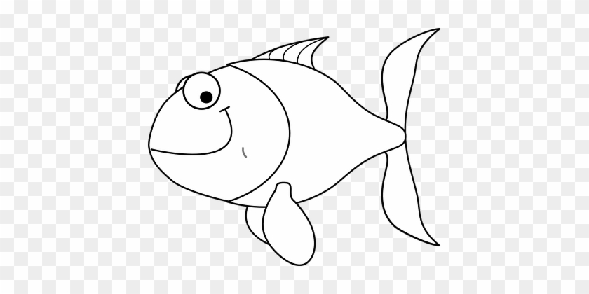 Fish Smiling Cartoon Animal Aquatic Eyes F - Cartoon Fish In Outline #786222