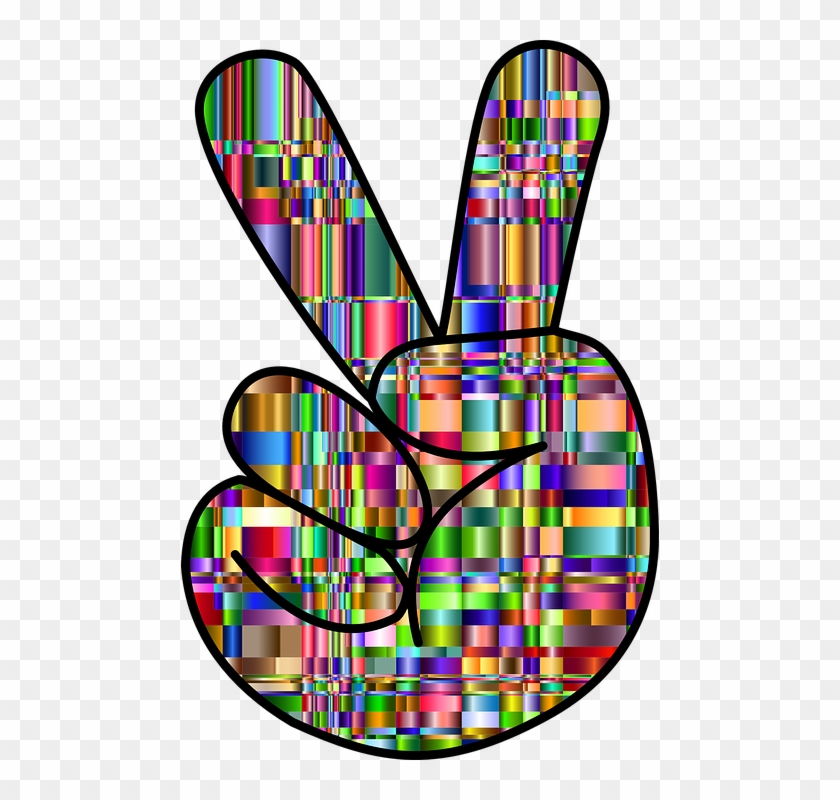 Colorful, Prismatic, Chromatic, Checkered, Rainbow - Colorful Hand Peace Signs #788789