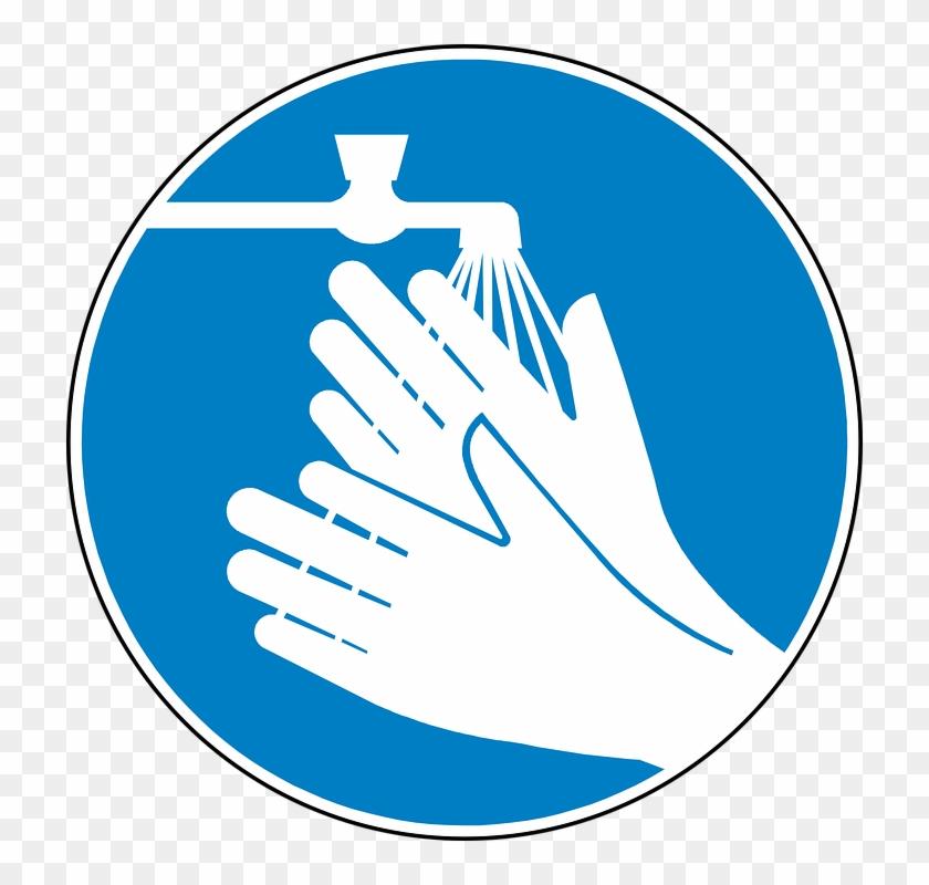 Wash Hands Symbol Wash Hands Clean Blue Free Vector Hand Washing