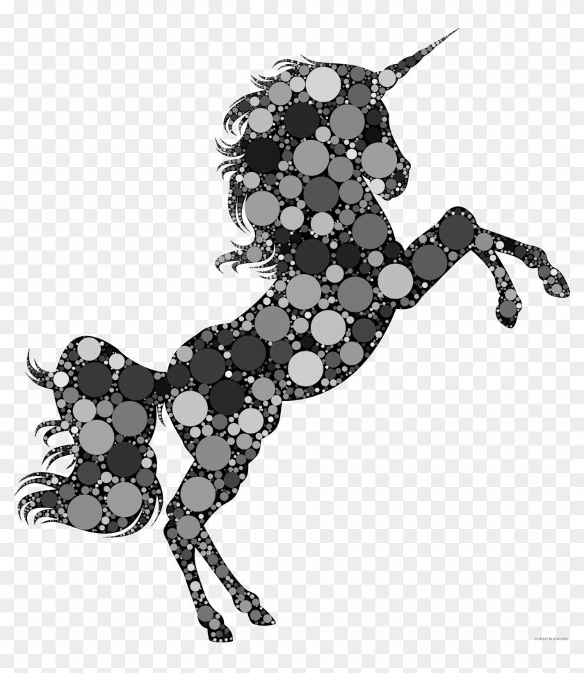 Prismatic Unicorn Silhouette Animal Free Black White
