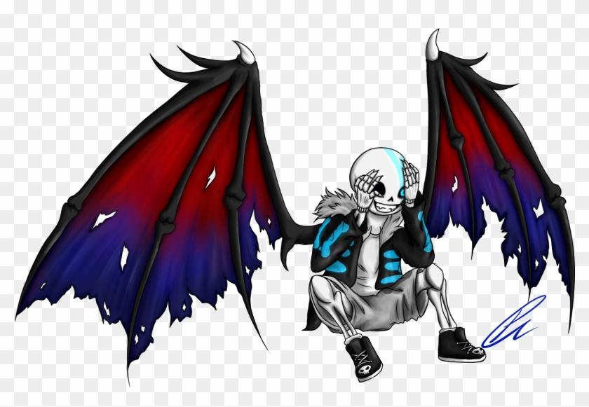 Jeyawue Demon Sans [gift / Wallpaper Size / Stream] - Sans With Demon Wings