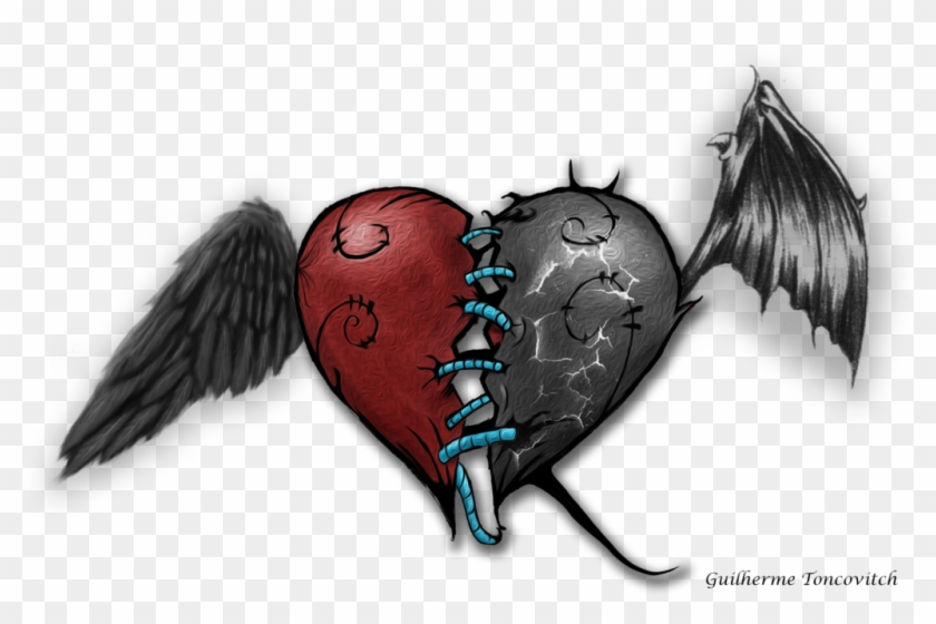Devil Drawing Angel Good Heart Angel And Devil Drawing Free
