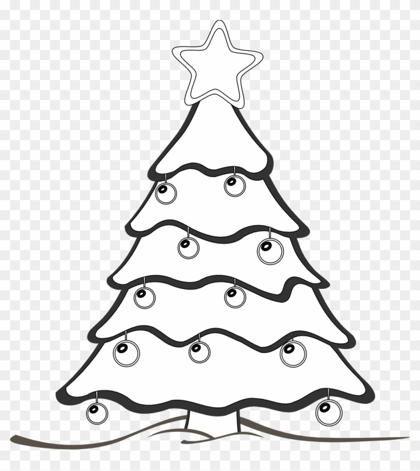 Xmas Tree Clipart Black And White - Draw A Christmas Tree #792189
