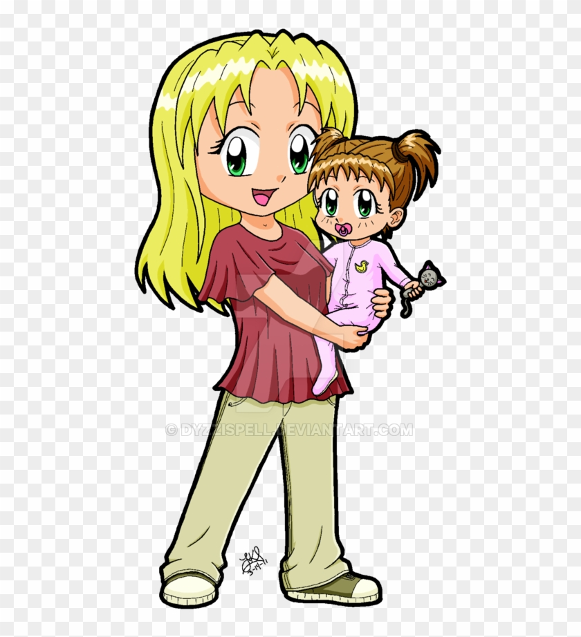 Chibi Mom And Child By Dyzzispell - Mother And Baby Chibi #792585