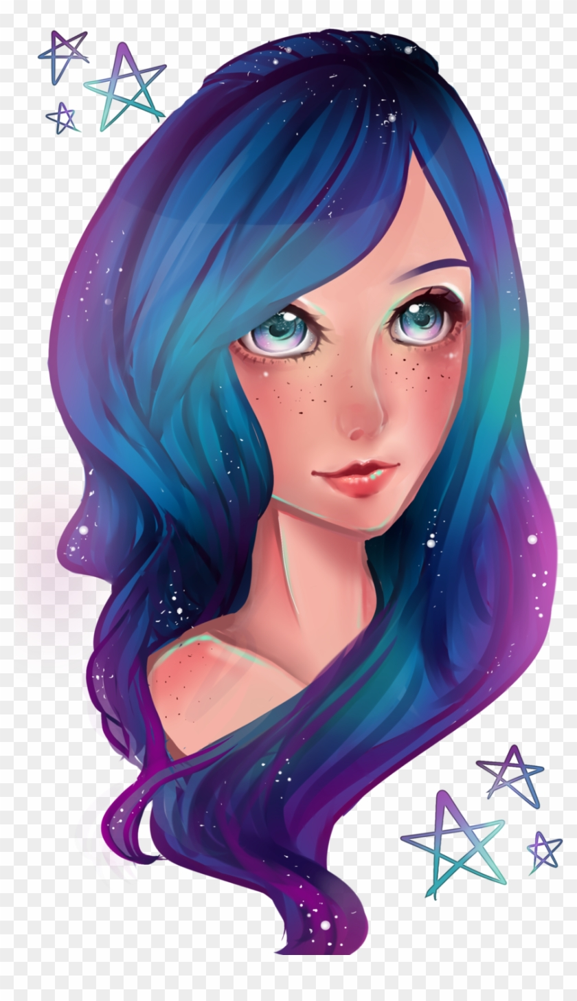 Galaxy Girl By Tea Of Love D6ceeqo Girl Anime Galaxy Hair Free Transparent Png Clipart Images Download