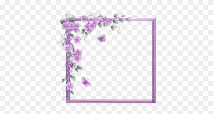 Purple Butterfly Border Clip Art - Flower Vine Corner Border #793233