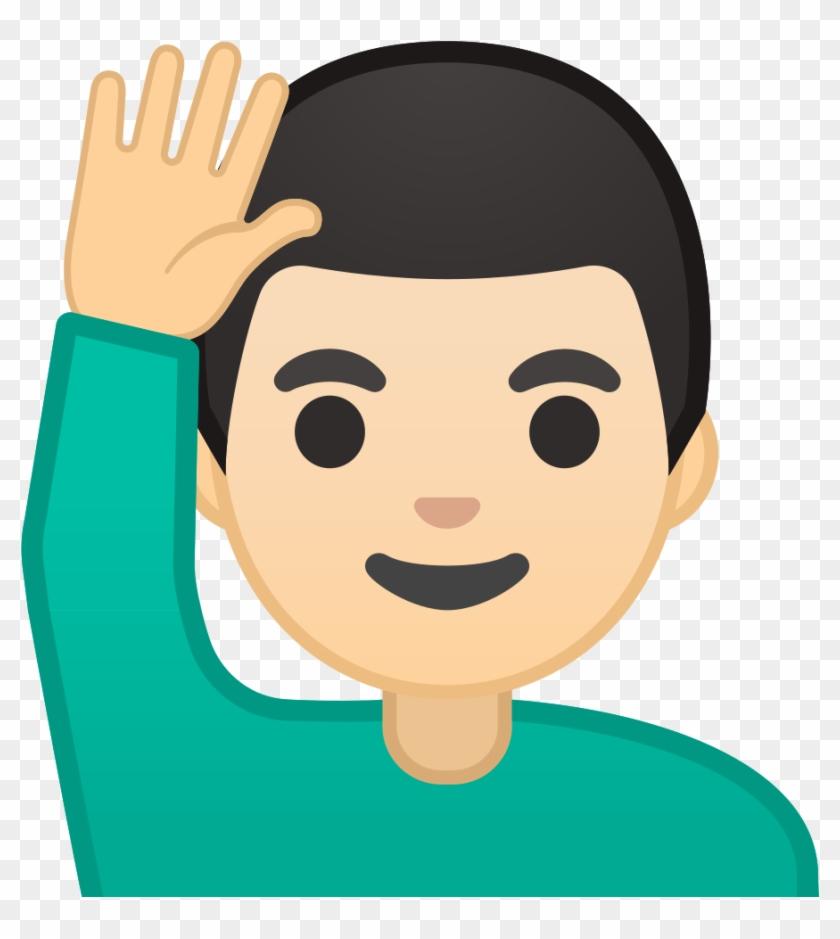 Man Raising Hand Light Skin Tone Icon Emoji Man Raising Hand Light