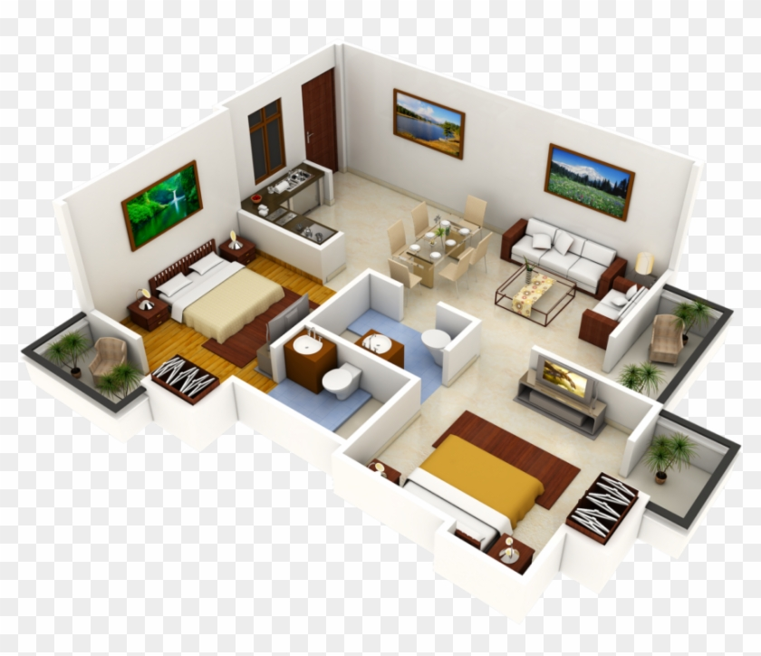 Luxury 2 Bedrooms Apartment Design Idea Come Interior Design 3d Plan Free Transparent Png Clipart Images Download
