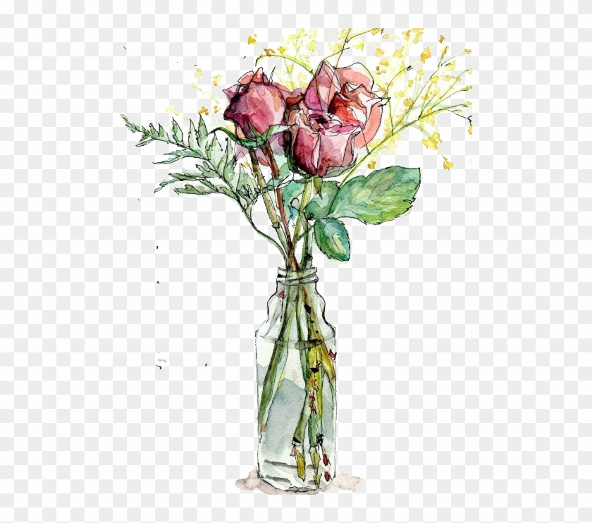 Garden Roses Vase Watercolor Painting Drawing Illustration Flowers