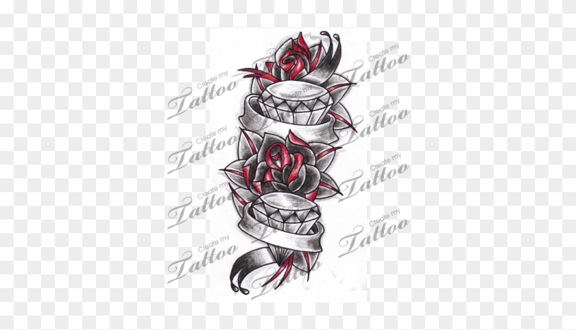 Rose Tattoo Clipart Banner Tattoos With Roses With Banner Free