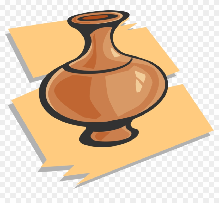Vector Illustration Of Clay Pottery Flower Vase Royalty Free