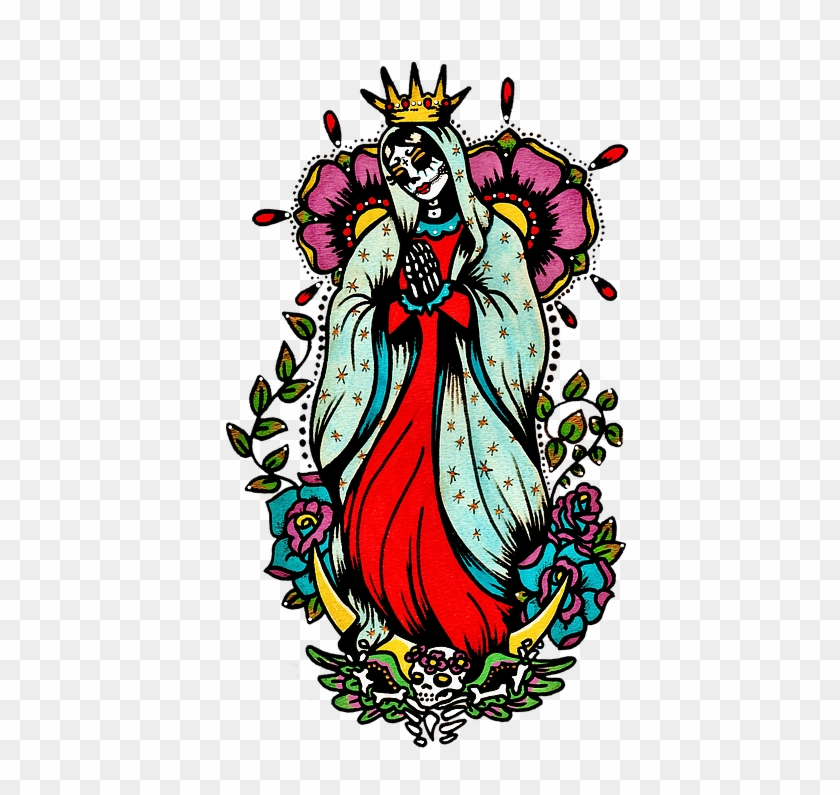 Day Of The Dead Art Virgin Mary Tattoo - Day Of The Dead Virgen De Guadalupe #798633