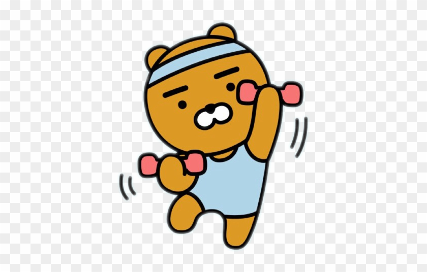 Working Out Ryan Bear Cute Kakao Kakaofriends Blue Working Out Gif Cartoon Free Transparent Png Clipart Images Download
