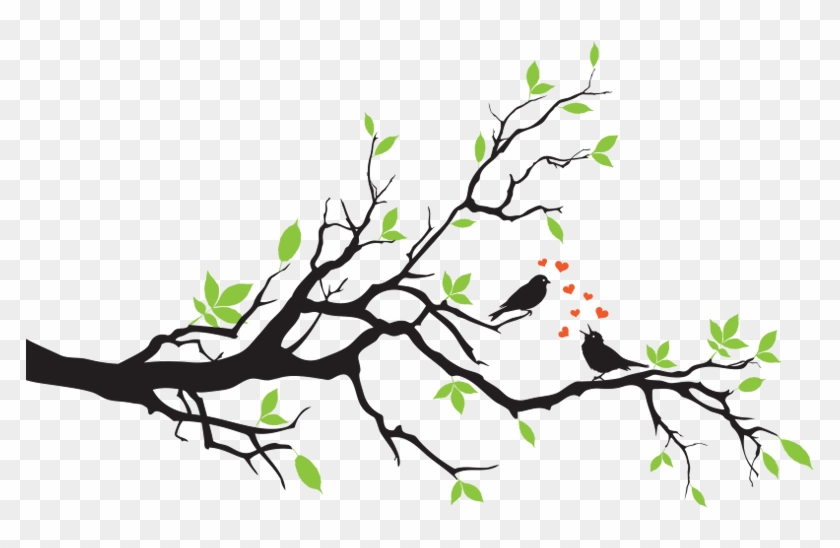 Birds On Branch In Love Wall Decal - Two Love Birds On A Branch #802698