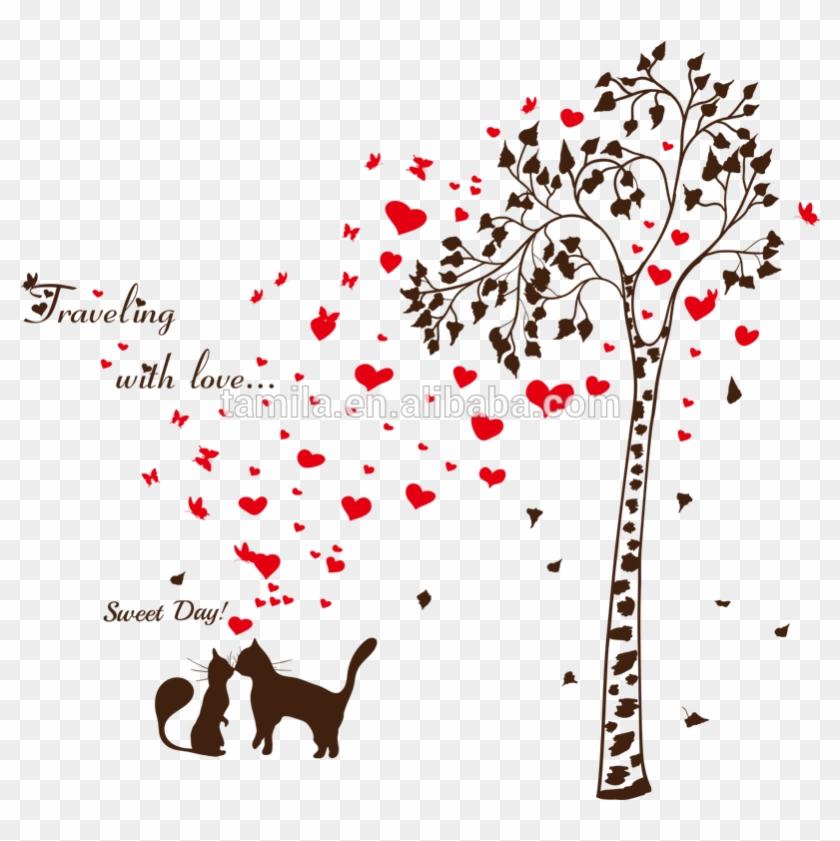 Loving Heart Butterfly Sweet Cat Tree Branch Vinyl - Gearbest Lover Cat Tree Heart Butterfly Vinyl Wall #802735