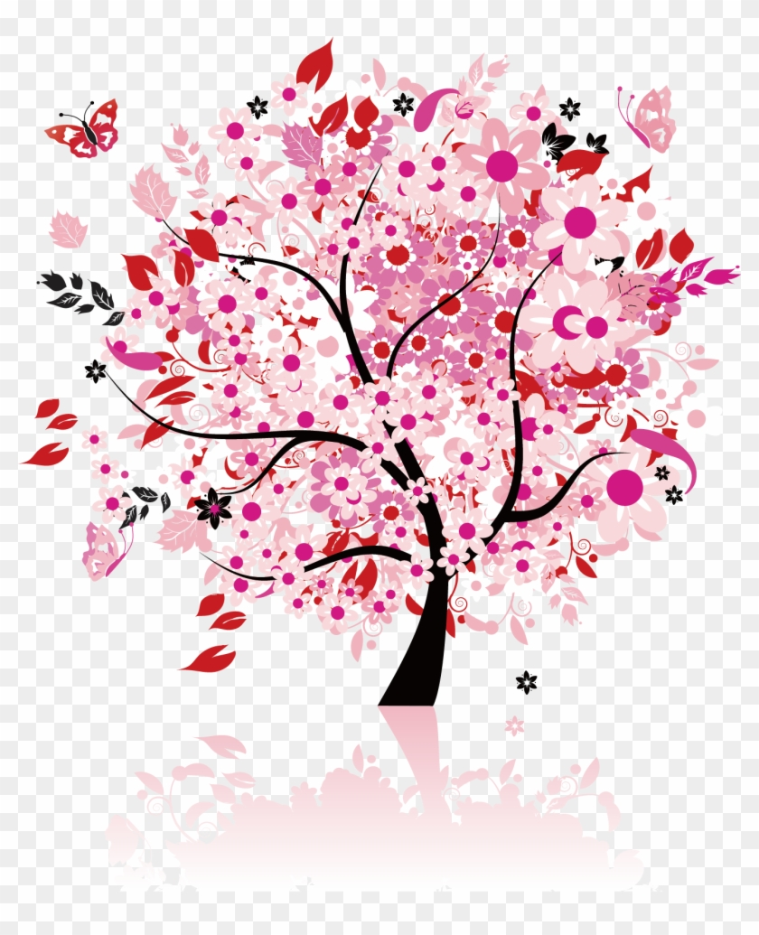 Cherry Blossom Poster - Pink Tree Full Wall Mural Size: X-large #802928