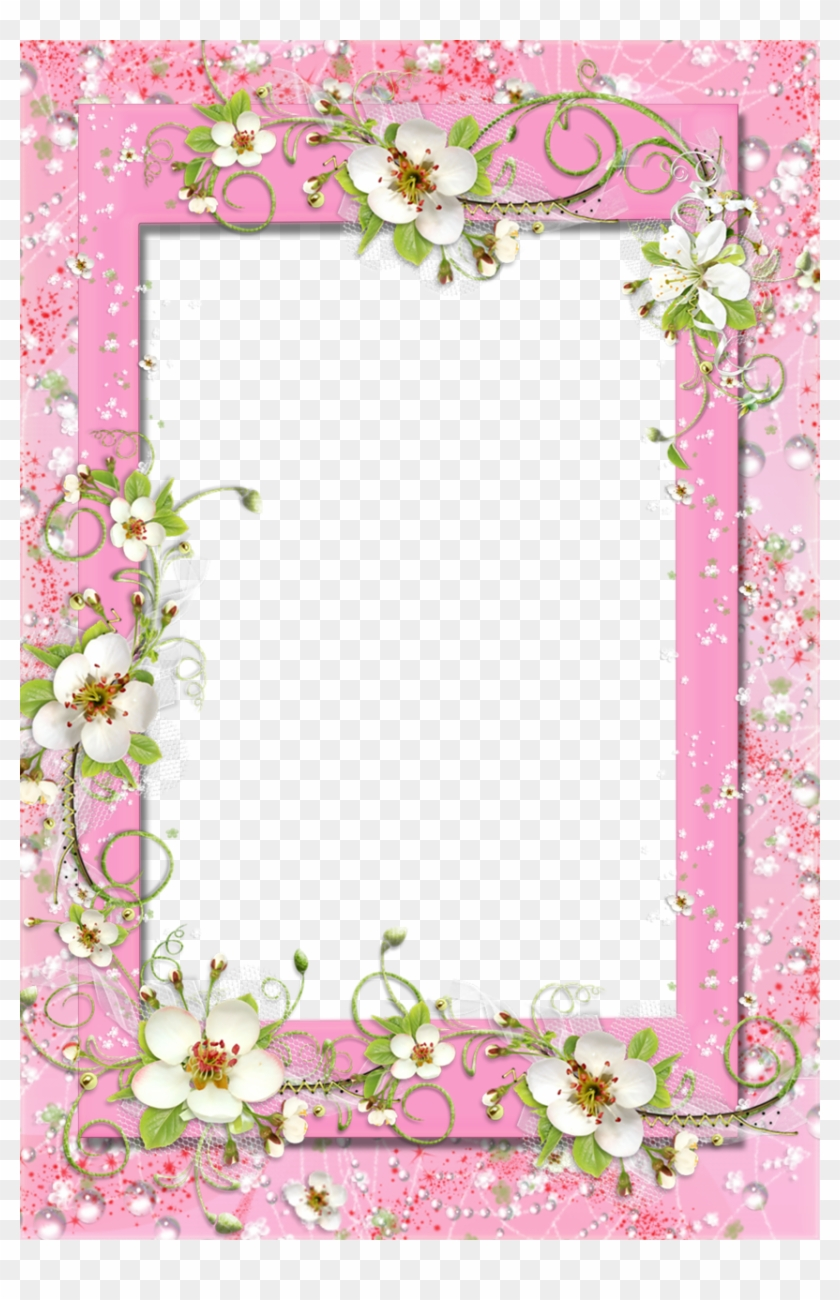Delicate Pink Photo Frame With Floral Flower Decorations - White ...
