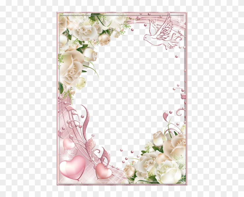 White Roses Pink Png Photo Frame - Wedding Borders And Frames Png ...
