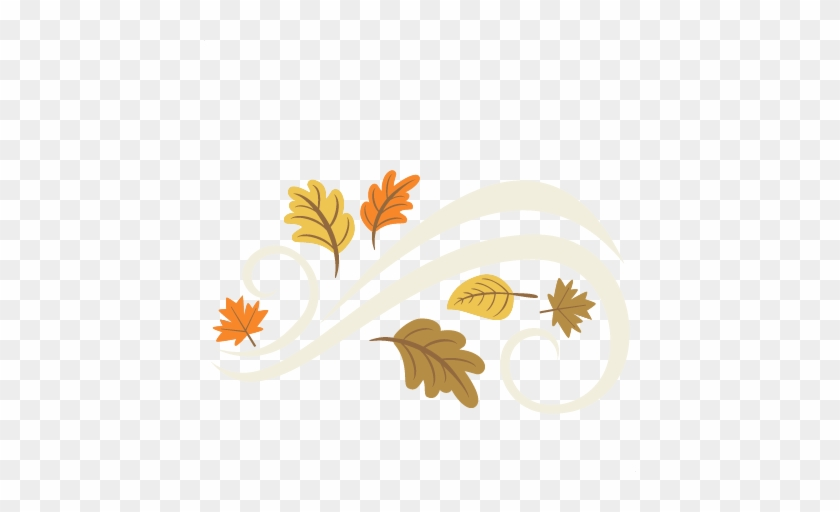 fall leaves flourish set svg cutting file for scrapbooking cute