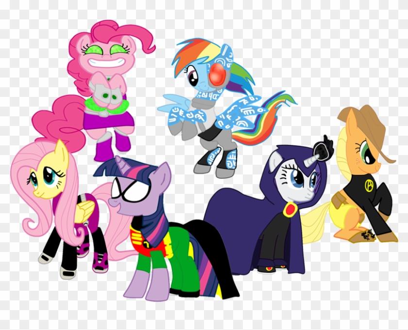 Pinkiedash, Beast Boy, Crossover, Cyborg , Earth Pony, - Пони Титаны #806690
