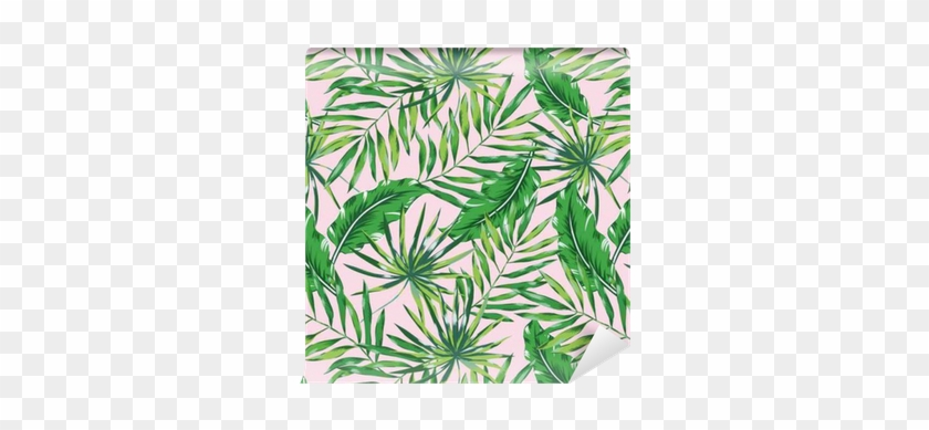 Green Palm Leaves On The Pink Background - Placemat #807070