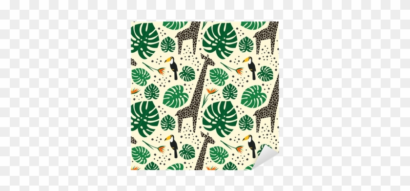 Giraffes, Toucans And Palm Leaves Seamless Pattern - Echo Park Paper Company Sf125040 Tropical Palms Die #807197