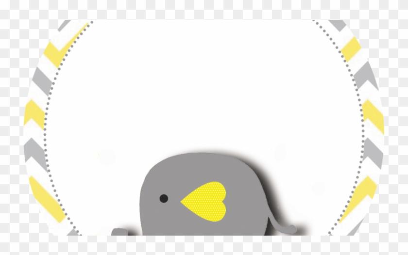 Tag Ou Topper Elefante Cinza E Amarelo Png Free Transparent